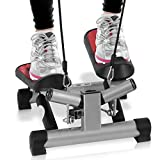 Fitness Exercise Elliptical Twister Stepper -Upgraded Quality Steel, Easy Under Desk Workout, Digital Display, Resistance Band Elliptical Trainer Burns 15% More Calories Than a Exercise Bike SLXS6