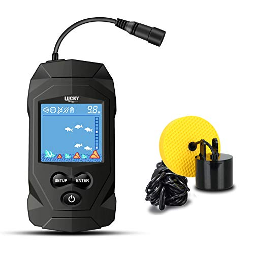 LUCKY Portable Fish Finders Wired Transducer Kayak...