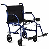 "Medline Ultralight Transport Wheelchair with 19""..."