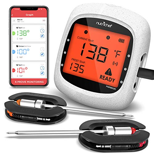 NutriChef Smart Bluetooth BBQ Grill Thermometer -...