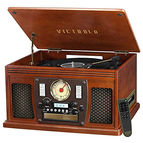 Victrola 8-in-1 Bluetooth Record Player &...