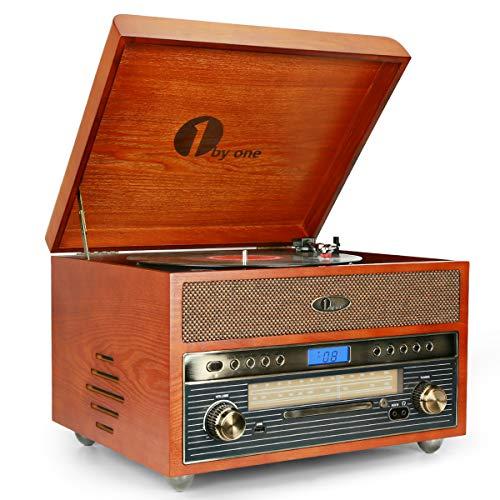 1byone Nostalgic Wooden Turntable Wireless Vinyl...