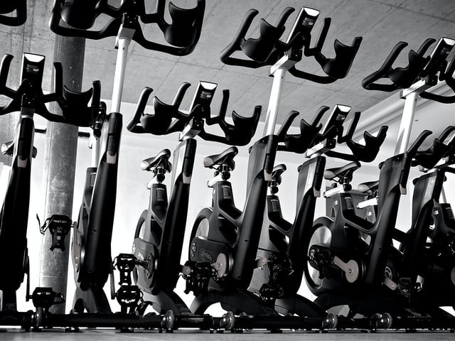 exercise bikes lined up