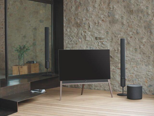 flat screen tv with floor standing speaker
